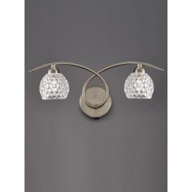 FL2347/2 Springa 2 Light Switched Wall Light Satin Nickel