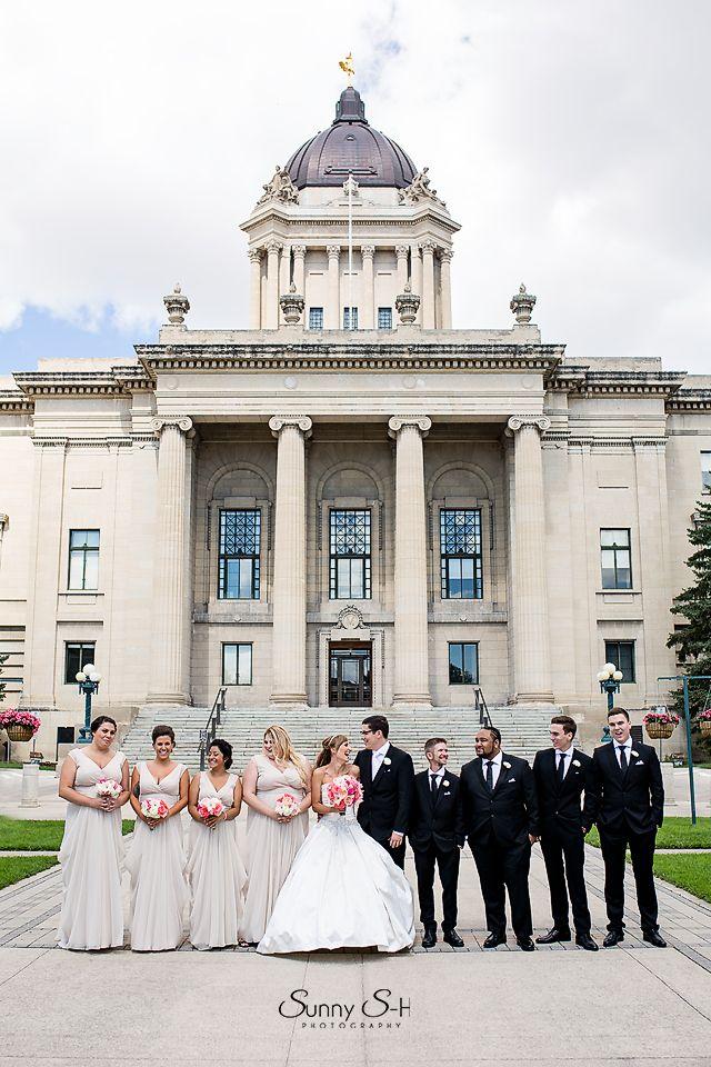 Manitoba Legislative grounds.  Perfect portrait location for wedding parties.