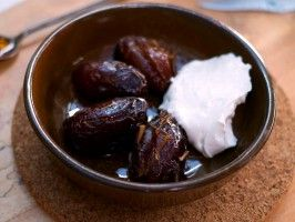 Fresh Dates Baked in Clay with Labne and Raw Honey : Recipes : Cooking Channel