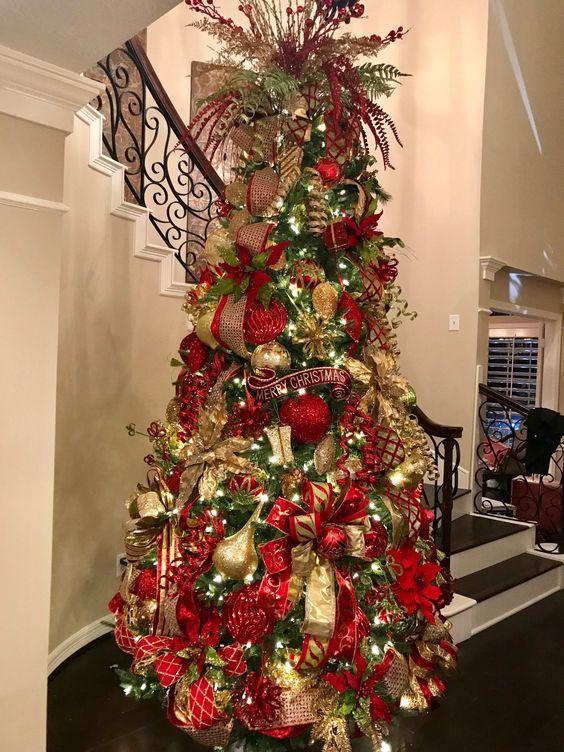 Arbol De Navidad Decorado Rojo Y Dorado