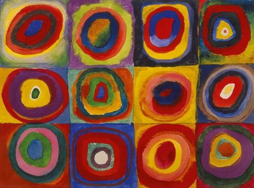 Painter Wassily Kandinsky. Painting. Color Study. Squares with Concentric Circles. 1913 year