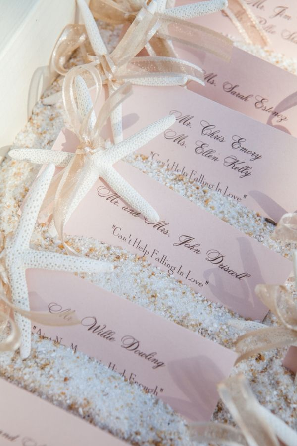 starfish and ribbon escort cards #beachwedding #pink