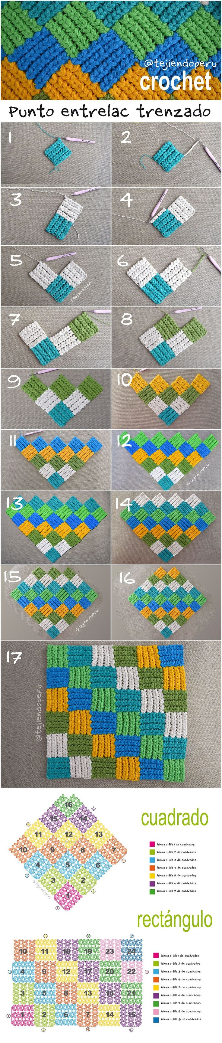 11 Best Cubrecamas Images On Pinterest Crochet Blankets By Tashiab Basic Granny Square Stitch Diagram Punto Entrelac Trenzado A