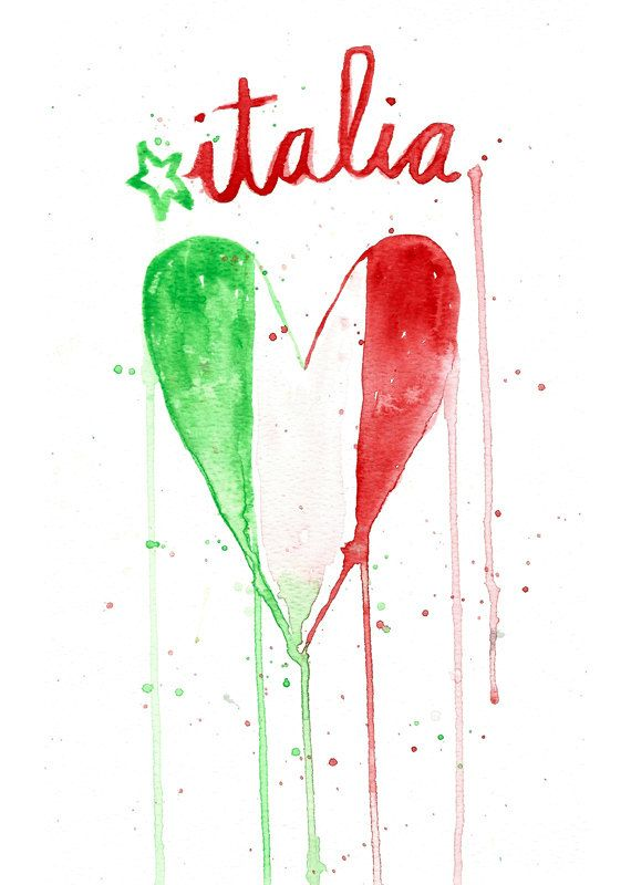 Italy Heart Flag Watercolor Art