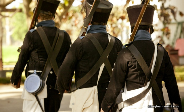 When Jane Austen was writing her books, England was at war with France.  See the men in Regency era military costumes at Picnic at Pemberley. www.abbeymuseum.asn.au