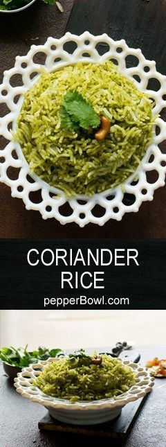 Coriander Rice / Coriander Pulao is super easy and very healthy, with step by step pictures and instructions. Its a very flavorful, one pot dish.