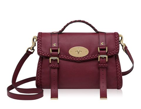 The moment I saw this I fell in love with it...this is my DREAM purse: Mulberry - Mini Alexa with Woven Trim in Berry Small Grain Calf Nappa