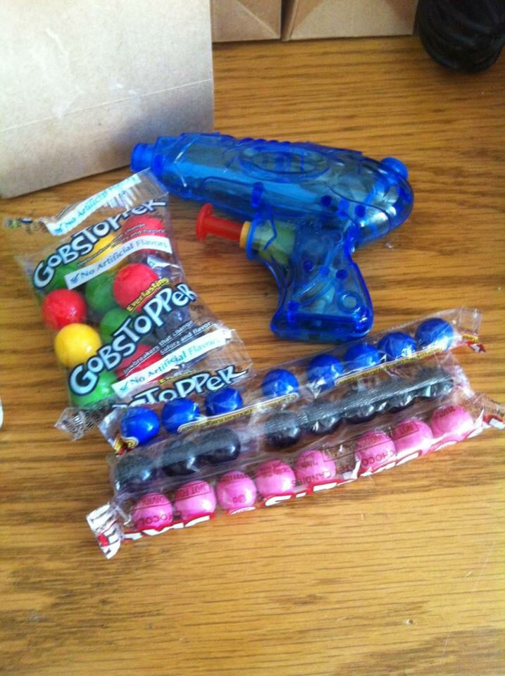 Goody bag items for my daughters paintball party!