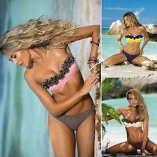 Mujer Push-up Set De Bikini Sujetador Con Relleno Floreado Traje Baño Para Nadar