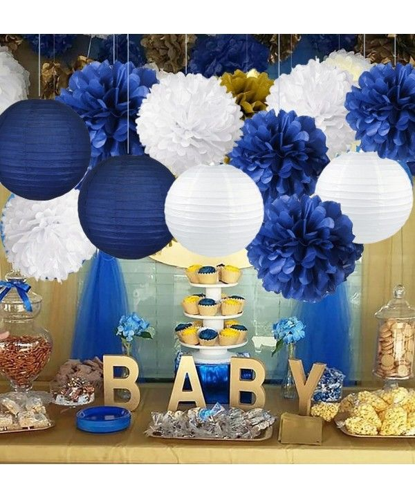 Navy Blue Baby Shower Decorations-Navy Blue Cream Gold Tissue Paper Flowers Pom Poms Paper Lanterns for Royal Prince Birthday Graduation Bridal Shower Bachelorette Party Wedding Engagement Party