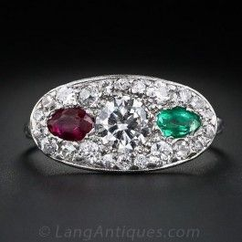 Art Deco Diamond, Ruby and Emerald Ring - Vintage Diamond Engagement Rings - Vintage Engagement Rings