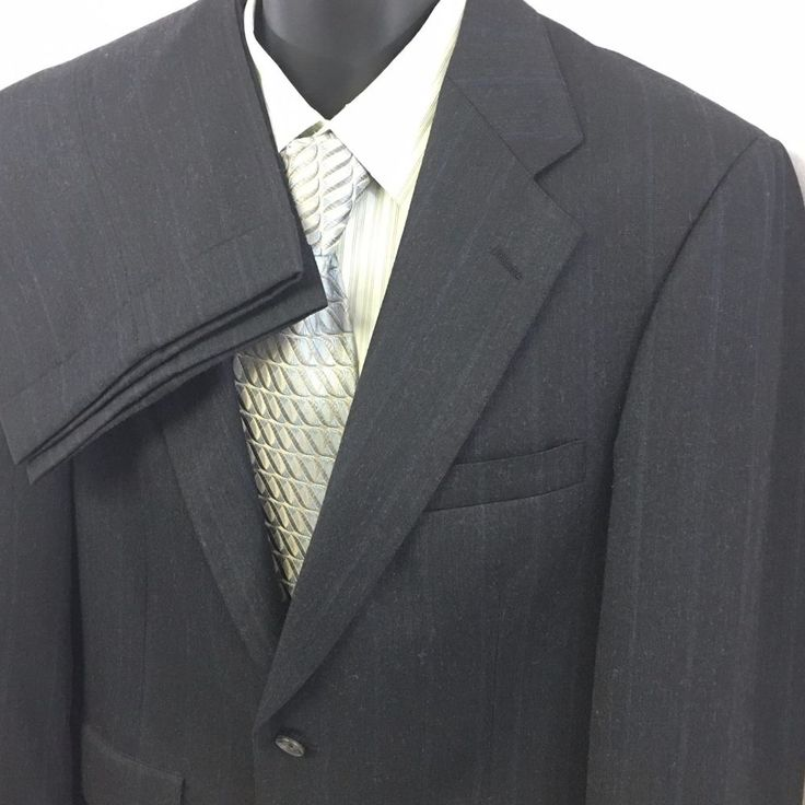 2PC CHAPS Ralph Lauren Mens Pants Suit Pinstripe Virgin Wool 2 Button Business #Chaps #TwoButton