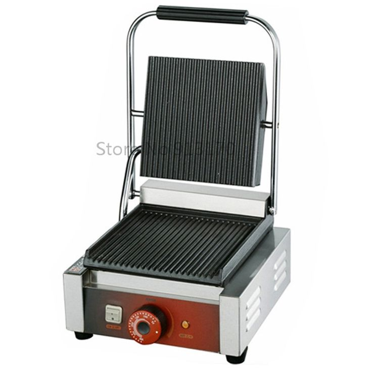 135.00$  Buy here - http://ali25z.worldwells.pw/go.php?t=32547083143 - Single Head Contact Grill Electric Griddle with Double Groove Plates _Panini Grill Sandwich Maker