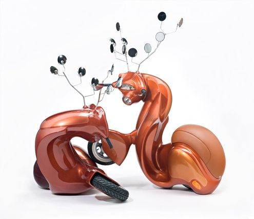Patricia Piccinini, The Stags 2008, fibreglass, automative paint, leather, steel, plastic, tyres ed. 1/3, 196 x 224 x 167cm