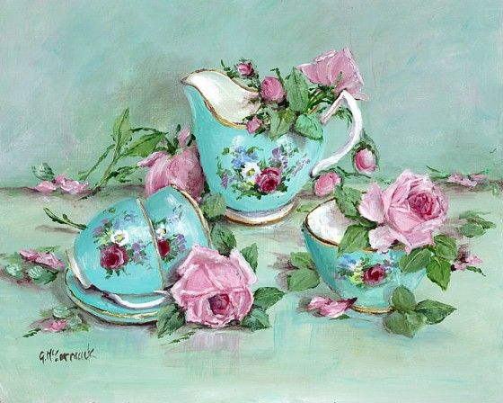PRINT ON PAPER - Tea Set & Roses - Postage is included World Wide
