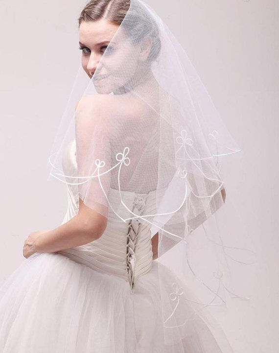 UK White Ivory Bridal Veil Wedding Dress Veils 2 Tier Bridal Accessor