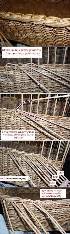 hárompáros eldolgozás завершение плетения в три пары газетных трубочек