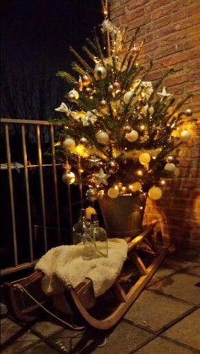 Kerstboom versierd op een slee