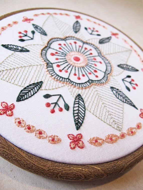FLORAL MANDALA ... a cozyblue embroidery pattern one of my newest favorites, this floral mandala is such fun to stitch. it uses just 3 basic stitches,