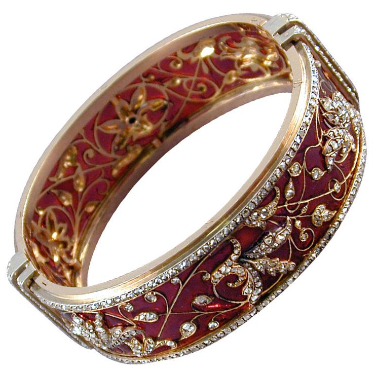 Exquisite BOUCHERON gold Plique-a-Jour Enamel and rose Diamond Bangle; c. 1880.