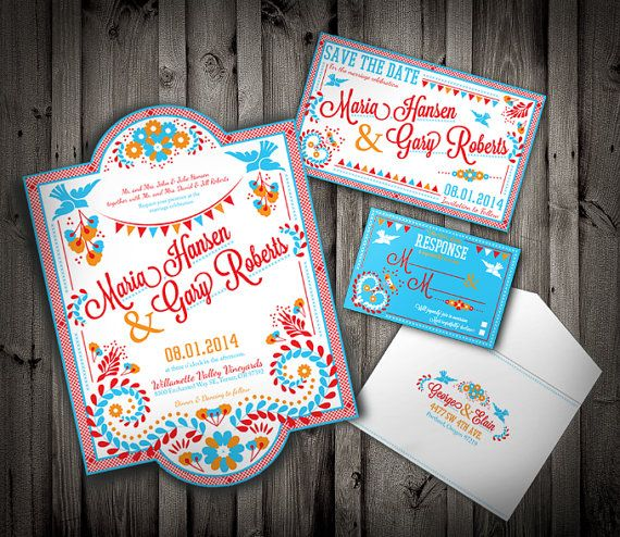 PDF Embroidary, mexican/ latin colorful wedding invitation and suite; Downloadable Custom
