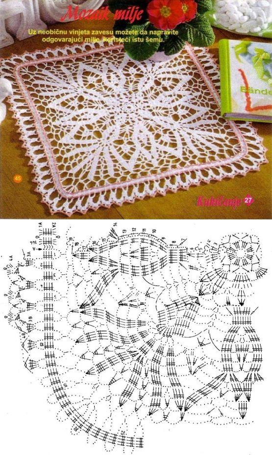 crochet square napkin ... ♥ Deniz ♥
