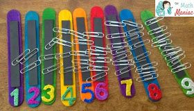 The Elementary Math Maniac: Quick and Fun Math Practice for Little Kids~ counting sticks to work on learning basic numbers. Great for reviewing number-object correspondence with preschool and kindergarten students.