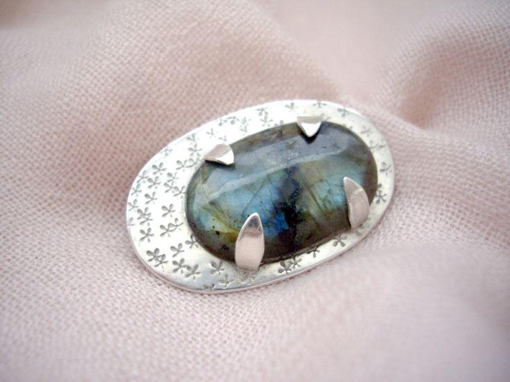 Labradorite cabochon, Silversmith brooch pendant, Statement pendant, Metalwork…