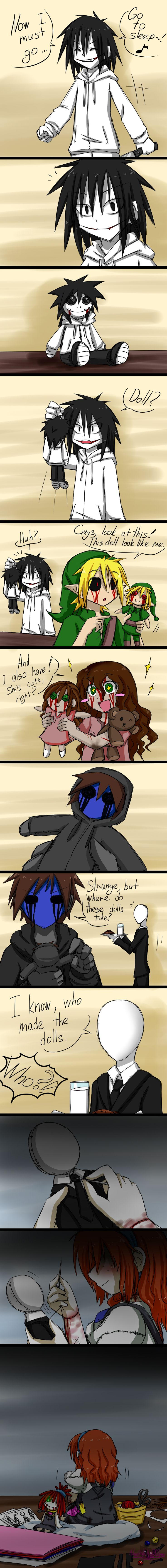 Jeff,Ben,sally,eyeless jack,and slenderman but who is the little girl making the little dolls?