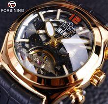 Forsining Convex Glass Stylish Tourbillion 3D Designer Genuine Leather Strap Mens Watches Top Brand Luxury Automatic Watch Clock(China (Mainland))