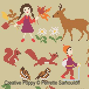 Perrette Samouiloff - Happy childhood collection, Autumn L (cross stitch)
