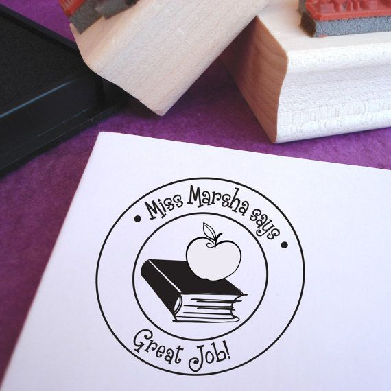 Customized Book and Apple Teacher Stamp by purplelemondesigns