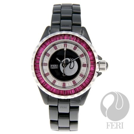 FERI - Cannes - Watch  - Hi-tech ceramic construction watch - Professional grade - Set with ruby and white AAA cubic zirconia - Shielded by scratch resistant sapphire crystal - Polished black - Premium swiss movement - Set with a back closure butterfly buckle - 330 feet water resistance - 3 year limited manufacturer warranty - Face Dimension: 1.26 inches x 1.26 inches - Band Width: 0.6 inches - Band Length: 6.5 inches - Diameter: 1.38 inches - Extra links available