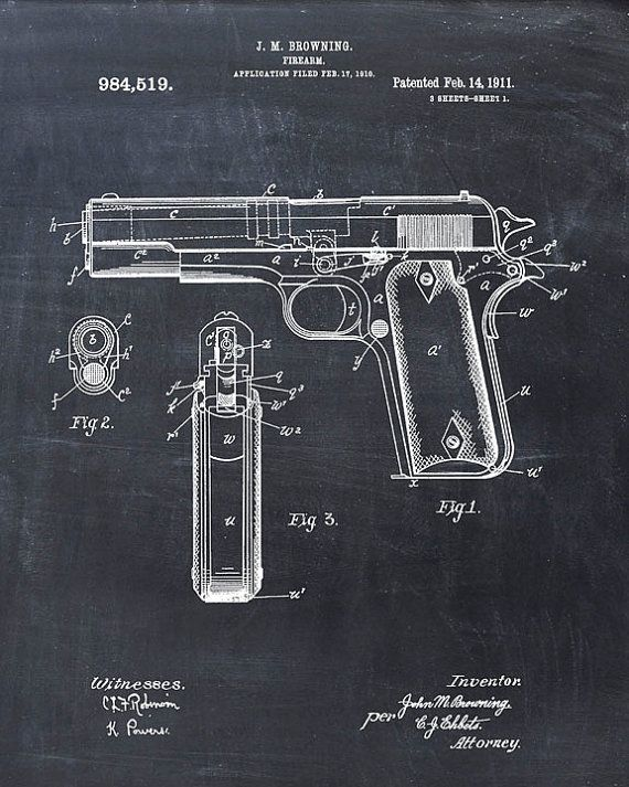 Patent Print of a Colt 45 M1911 Pistol Patent Art by VisualDesign