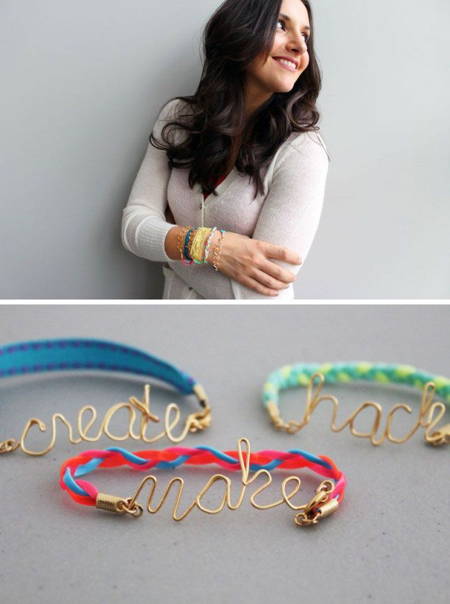 Wire word friendship bracelets paired with homemade flower tissue gift bag