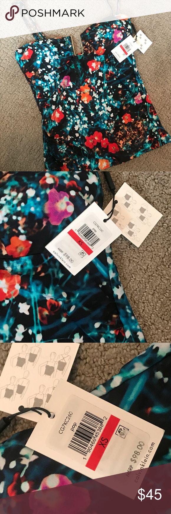 Calvin Klein – Exotic Poppy – Neckholder-Oberteil XS $ 98 Einzelhandel Calvin Klein – Exotic Poppy-H …