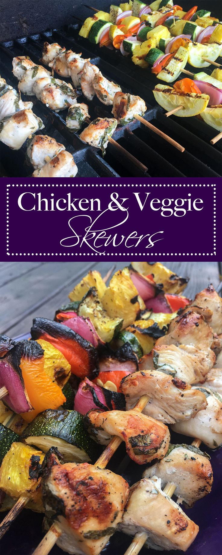 Chicken and Vegetable Skewers on the grill.