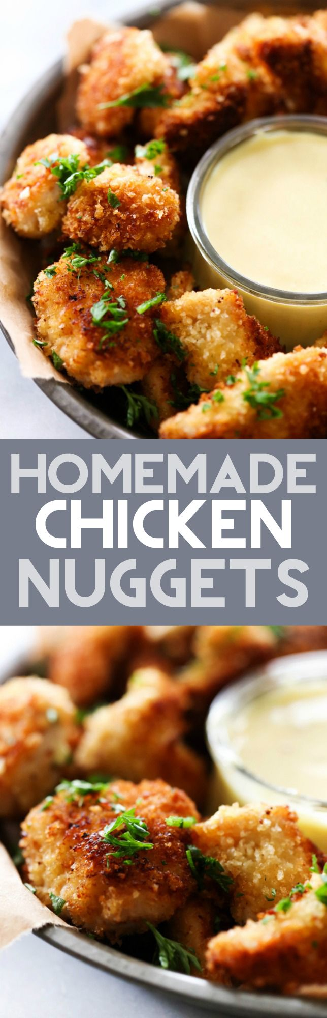 These Homemade Chicken Nuggets are so much healthier and much more delicious than anything you could buy! The outside coating is perfection! This recipe makes for a great meal or appetizer!