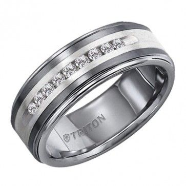 Triton, Tungsten Carbide & Sterling Silver 8mm I2-IJ Diamond Wedding Band, 1/4 ctw