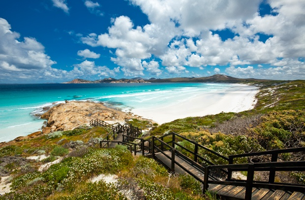 Esperance Beach, WA  720 km from Perth, Esperance is known as the home of the Cyclops, the world's heaviest wave which dumps massive amounts of water onto shallow reef, 'King Waves'