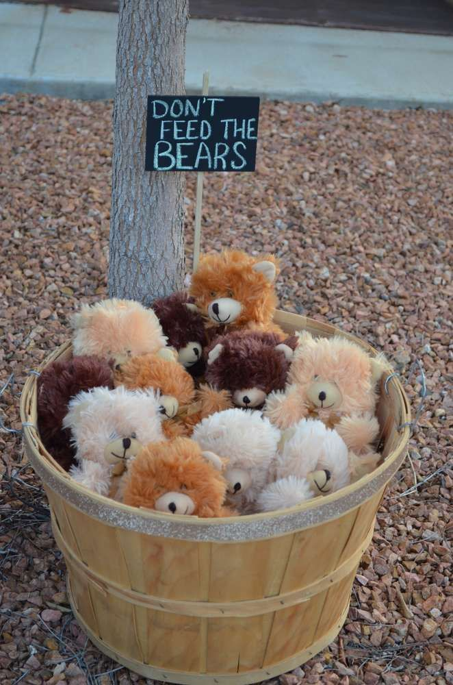 If you use stuffed animal reading buddies in your camping theme classroom, this would be a super cute way to store them! Don't feed the bears! (But do read with them! ;)