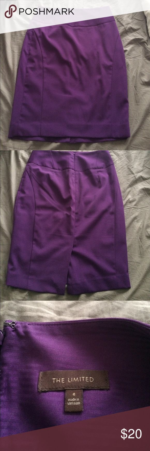 Bright Purple High Waisted Pencil Skirt High waist pencil skirt from The Limited. Skipper on back with slight slit at bottom. Skirt has stitching to give the body a nice hour glass shape. Skirt is lined. Size 6 The Limited Skirts Pencil