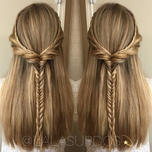 braided half updo for thick straight hair