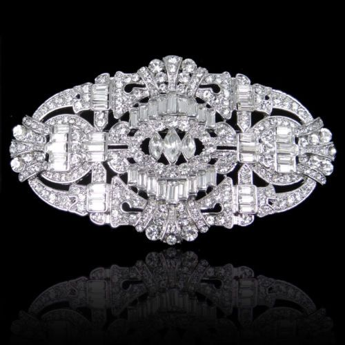 TheGreatGatsbyInspired Bridal Buckle Drop Clear Swarovski Crystal Brooch Pin