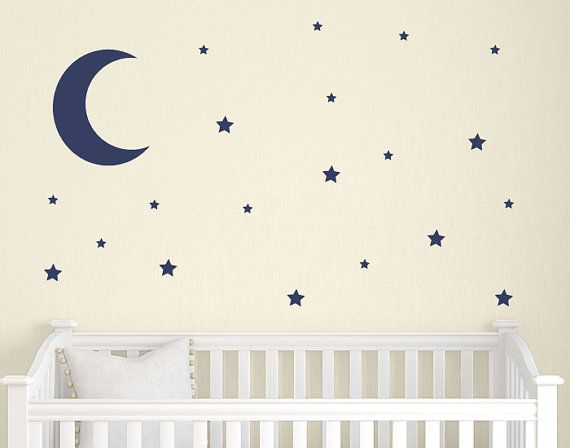 ON SALE Moon and Stars Wall Decal Set by TweetHeartWallArt on Etsy