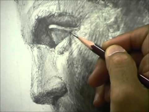 鉛筆・石膏デッサン『ゲタ』 - YouTube