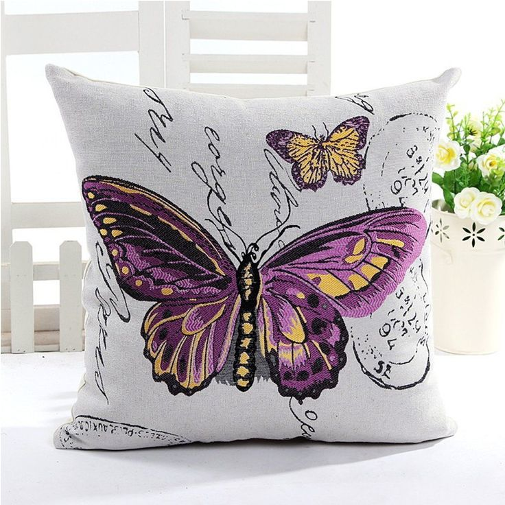 Purple Butterfly Cushion Cover 45cm New FREE SHIPPING. | eBay