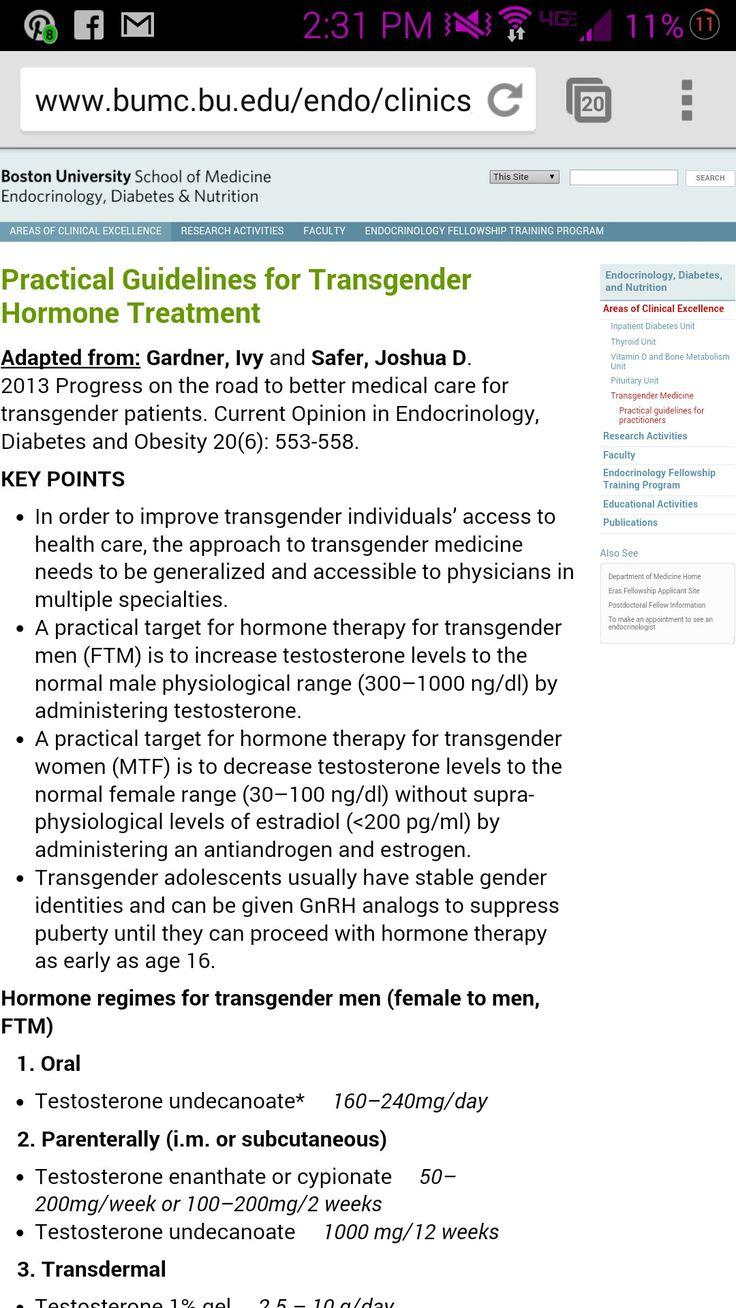 Practical Guidelines for Transgender Hormone Treatment