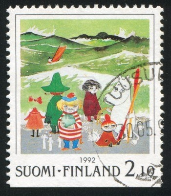 FINLAND - CIRCA 1992: stamp printed by Finland, shows Moomin characters on beach, circa 1992