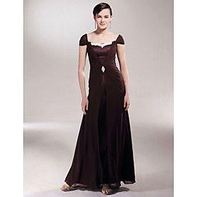 Sheath/Column Square Floor-length Satin Chiffon Mother of the Bride Dress